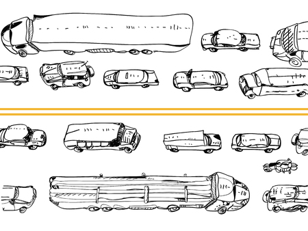 Illustration of a traffic jam in doodle style, on white Çizim