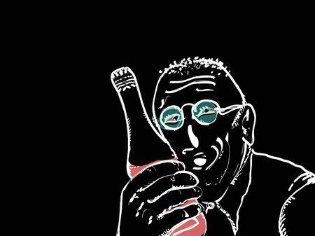 Illustration of a drunk ,am holding a bottle  イラスト・ベクター素材
