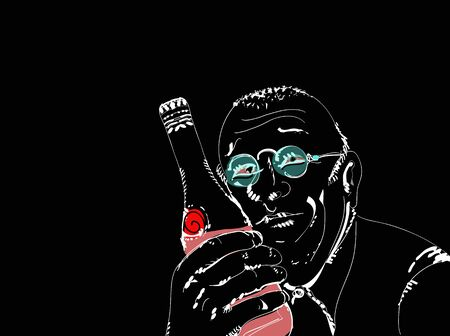 Illustration of a man holding a  bottle of wine close to his smiley face, on black  イラスト・ベクター素材