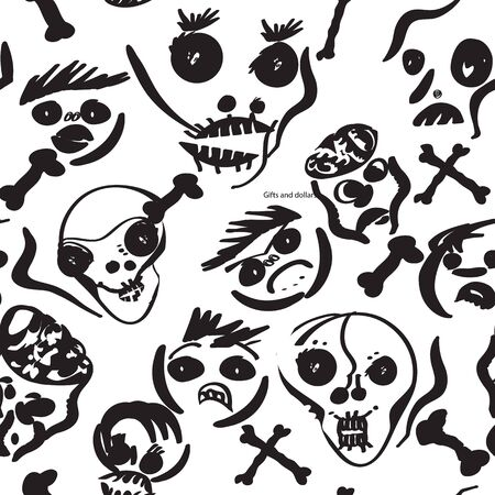 Seamless pattern of spooky faces in black and white