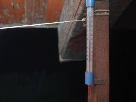 Zero on a vintage gauge, mounted on the wooden post, night scene