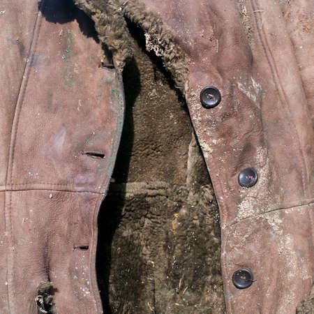 Old rotten sheep skin  winter coat close-up, outdoor shot Stock Photo