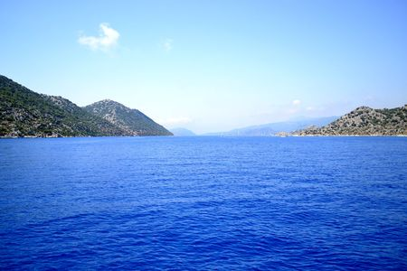 Walk on a yacht on the Mediterranean Sea in Turkey.