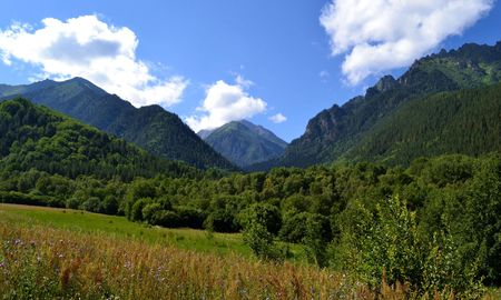 vertices: The nature and beauty of the Caucasus. Teberda reserve in the Karachay urban district of Karachay-Cherkessia. Photo taken on: July 27, Saturday, 2013 Stock Photo