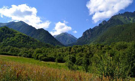 The nature and beauty of the Caucasus. Teberda reserve in the Karachay urban district of Karachay-Cherkessia. Photo taken on: July 27, Saturday, 2013 Stock Photo