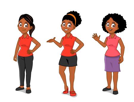 젊은 아프리카 계 미국인 여성 일러스트