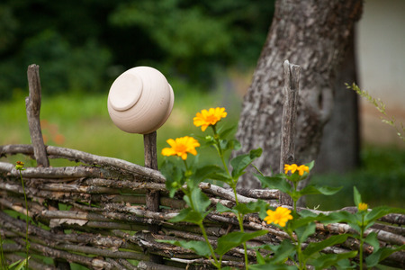 Vantage ceramic clay pot hanging on willow fence surrounded by yellow flowers