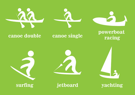 canoe: canoe double, canoe single, powerboat racing, surfing, jetboard, yachting, sport icons Illustration