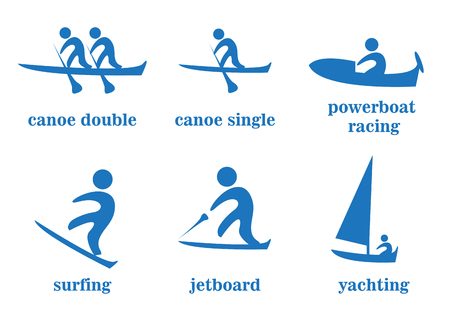 yachting: canoe double, canoe single, powerboat racing, surfing, jetboard, yachting, sport icons Illustration