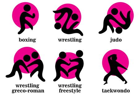 freestyle: boxing, wrestling, wrestling greco-roman, wrestling freestyle, taekwondo, judo sport icons