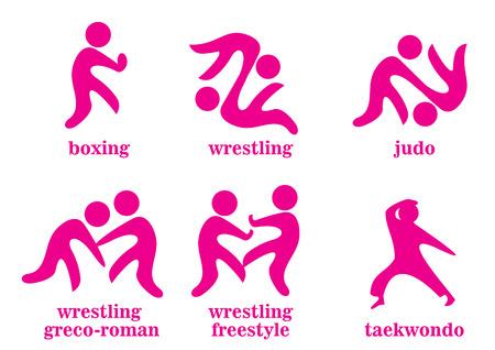 boxing, wrestling, wrestling greco-roman, wrestling freestyle, taekwondo, judo sport icons