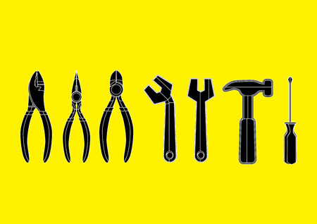 exact: silhouette icon tools - hummer, screwdriver, spanner and pliers