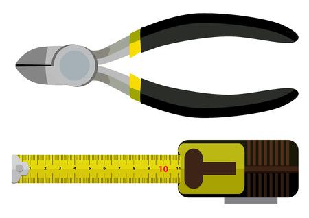 cintas metricas: - herramientas de la ruleta y alicates Vectores