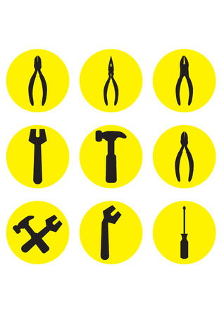 hummer: icon tools - hummer, screwdriver, spanner and pliers Illustration