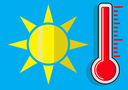 termometer: Thermometers and sun icon