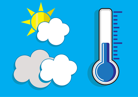 thermometers: Thermometers icon and cloud icon