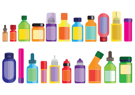 gargle: medicine and pharmacy bottles icon set