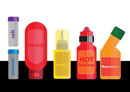catsup bottle: Bottles of ketchup, mayonnaise and mustard Illustration