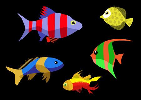 exotic fish: Exotic Fish icons set vector