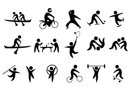 synchronized: sport vector icons silhouette Illustration