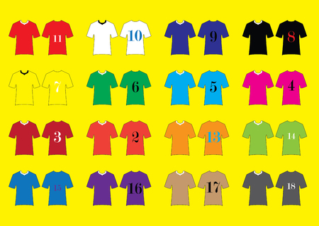 sport fan: Different Designs of Soccer Kits. Colorful T-Shirts.