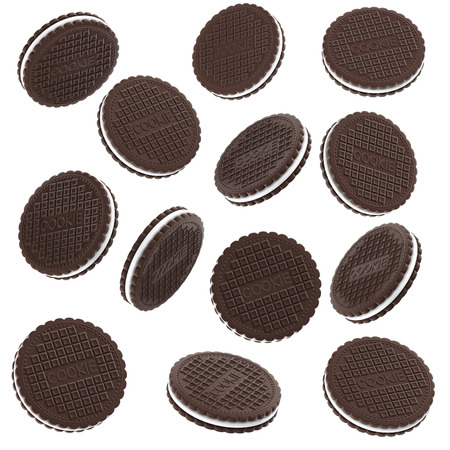 Set of Round Chocolate Cookies Isolated on White Background. 3d Illustration Stock Photo