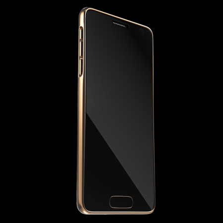 advanced technology: Realistic Golden Smartphone or High Detailed Mobile Phone Template. 3D rendering Stock Photo