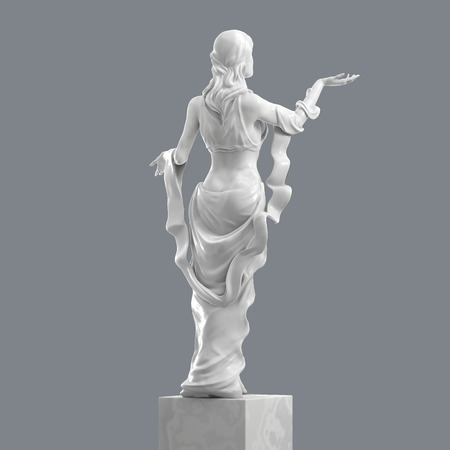 Escultura de mármol de una joven y bella mujer con elegantes pliegues de ropa. Estatua de la diosa en un estilo clásico aislado. Representación 3D