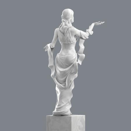 Marmor-Skulptur von einer schönen jungen Frau mit eleganten Falten der Kleidung. Statue der Göttin in einem klassischen Stil isoliert. 3D-Rendering