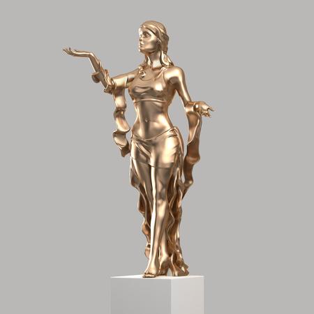 Gouden Beeld van een mooie jonge vrouw met een elegante Folds van kleding. Standbeeld van de godin in een klassieke stijl Geïsoleerde. 3D-rendering