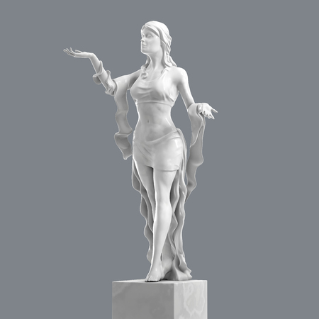 Marble Sculpture of a Beautiful Young Woman with Elegant Folds of Clothing. Statue of Goddess in a Classical Style Isolated. 3D rendering Stock Photo