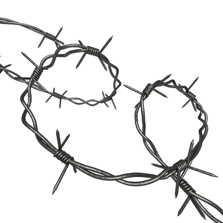Coil of Steel Barbed Wire isolated on a white background 3d rendering Stock Photo