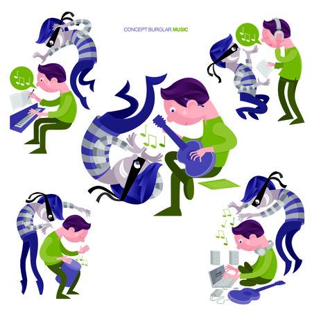 copyrights: concept burglar - music Illustration