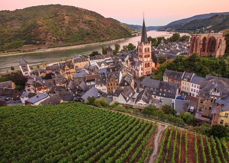 Bacharach, Rhine valley, Germany. City Panorama view with Rhine river and vineyard at twilight