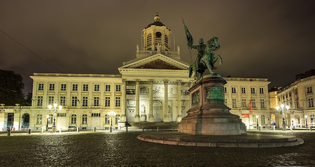 BRUSSELS,BELGIUM - SEP 05, 2016: Coudenberg, former Palace of Brussels, Belgium at night. The statue of Godfrey, Duc of Bouillon, in the foreground and Church of Saint Jacques-sur-Coudenberg in Royal Square.