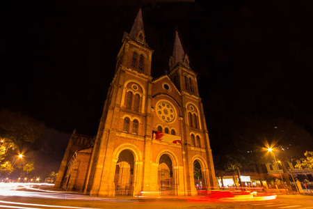 Night View of Notre Dame Cathedral, Ho Chi Minh City, Vietnam