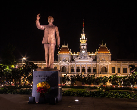 Night View: Ho Chi Minh statue in front of City Hall, Saigon, Ho Chi Minh City, Vietnam