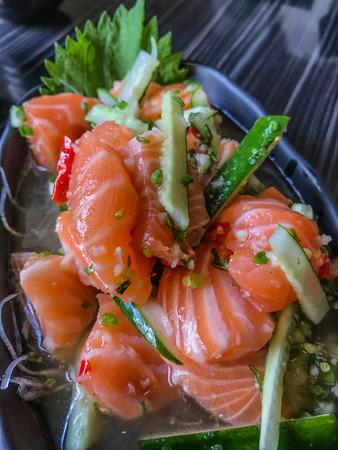 Japanese Salmon Tataki, Salmon Spicy Salad, Thai Styled Japanese Food