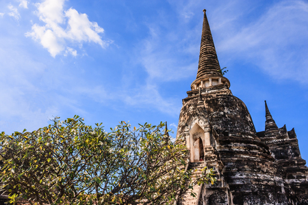 View of asian religious architecture ancient Pagodas in Wat Phra Sri Sanphet Historical Park, Ayuthaya province, Thailand, Southeast Asia. Thailands top historic landmark, attraction and destination