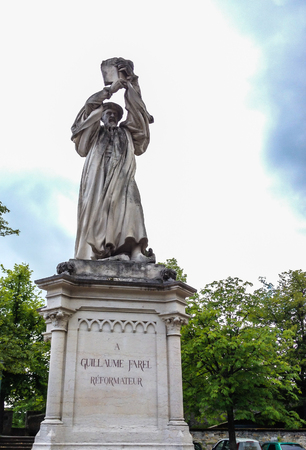 Statue of Guillaume Farel in Neuchatel.  a French evangelist, and a founder of the Reformed Church in the cantons of Neuchatel, Berne, Geneva, and Vaud in Switzerland.