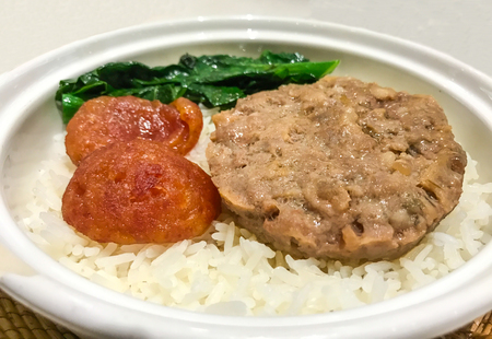 Asian Food, Steamed Minced Pork with Salted Fish and Chinese sweet sausage in Chinese Style on jasmine rice