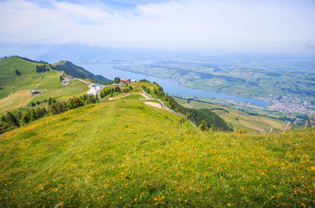 Panoramic Landscape View of Lake Lucerne and mountain ranges from Rigi Kulm viewpoint, Lucerne, Switzerland, Europe. Stock Photo