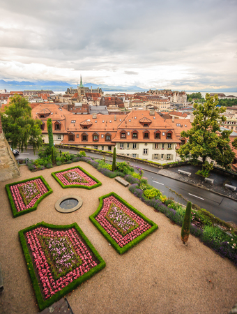 top view of Lausanne old town, Lausanne, Switzerland, Europe. Stock Photo