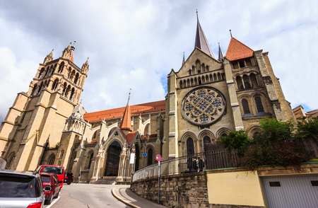 Beautiful summer day view of Lausanne Cathedral of Notre Dame, Lausanne, Vaud, Switzerland, Europe.