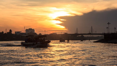 Start journey with Beautiful Summer Sunrise Morning View at Quang Trung bridge near Can Tho Float Market, Hau River, Can Tho, Vietnam