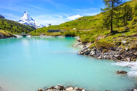 Moosjisee Lake, one of top five lakes destination around Matterhorn Peak in Zermatt, Switzerland, Europe.