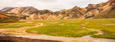 Beautiful summer  view of Colorful Landscape of Landmannalaugar National Park with mountain ranges background, Landmannalaugar, Westfjords, Iceland, Europe. Stock Photo