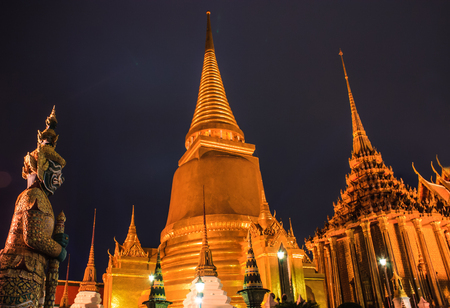 kaew: Night Scene of The Emerald Buddha Temple or Wat Phra Kaew with Pagodas from the Grand Palace View, Bangkok, capital of Thailand