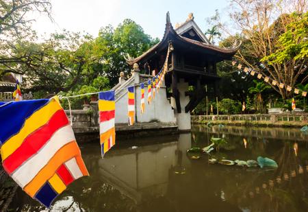 The One Pillar Pagoda (Chua Mot Cot) is the historic, most iconic Buddhist temple in Hanoi, Vietnam Stock Photo