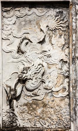 Hanoi,Vietnam - October 21,2017 : Beautiful View of Wall Carvings Art of Temple of Literature (Van Mieu in Vietnamese), it known as Temple of Confucius in Hanoi.